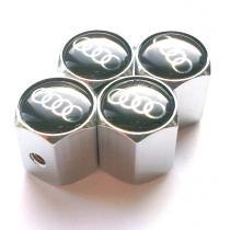 Ozdobné kryty na ventily s logom Audi čierne