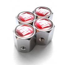 Ozdobné kryty na ventily s logom Fiat červené