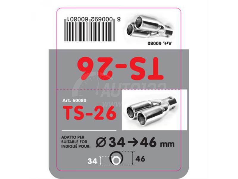 Dvojitá koncovka výfuku z nerezovej ocele so športovým zvukom TS-26
