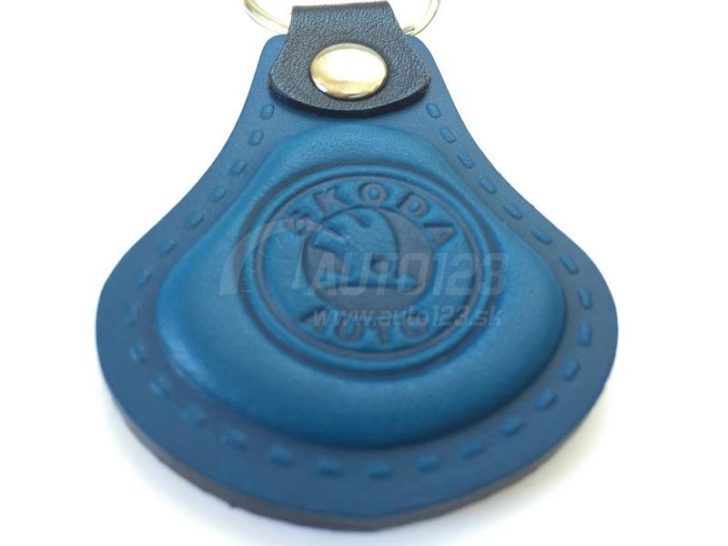 Kožená kľúčenka Škoda modrá  dc6a0295b80
