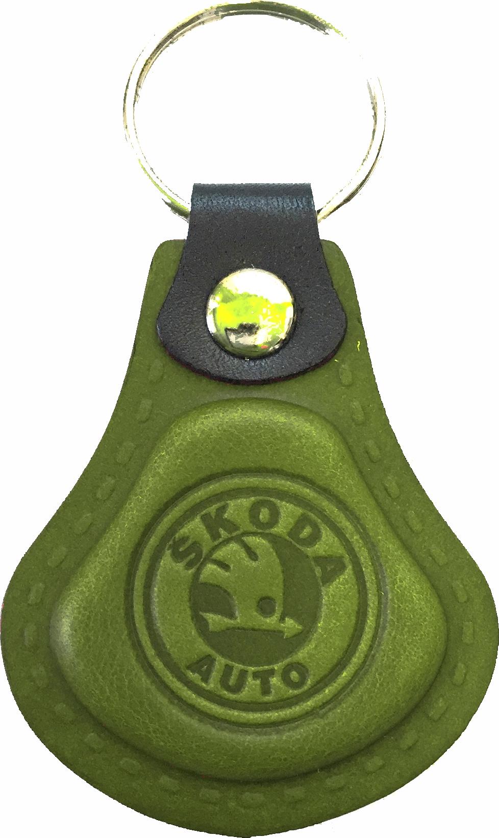 Kožená kľúčenka Škoda zelená  0b710c5dd4c